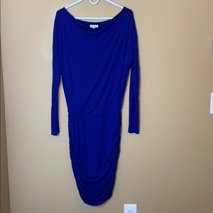 Athleta blue scrunched bottom long sleeve dress